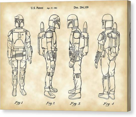 R2-d2 Canvas Print - Star Wars Boba Fett Patent 1982 - Parchment by Stephen Younts