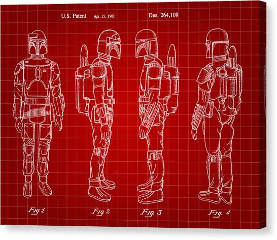 R2-d2 Canvas Print - Star Wars Boba Fett Patent 1982 - Red by Stephen Younts