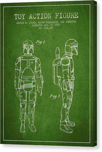 Yoda Canvas Print - Star Wars Boba Fett Patent From 1982 - Green by Aged Pixel