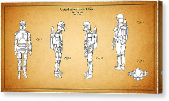 Boba Fett Canvas Print - Star Wars - Boba Fett Patent by Mark Rogan