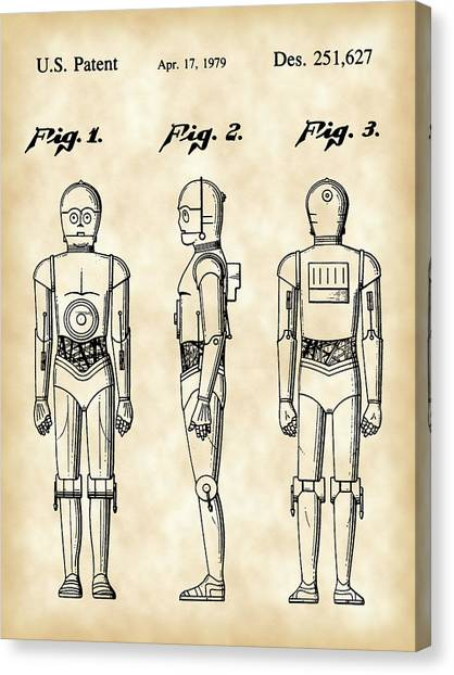 R2-d2 Canvas Print - Star Wars C-3po Patent 1979 - Vintage by Stephen Younts