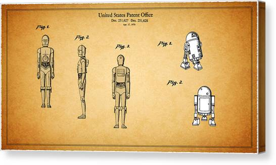 Yoda Canvas Print - Star Wars - C3po And R2d2 Patent by Mark Rogan