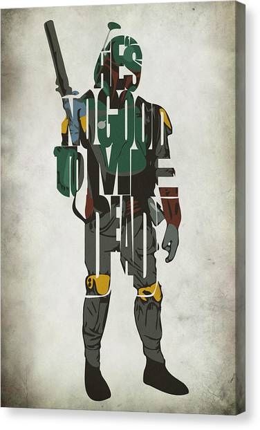 Star Wars Inspired Boba Fett Typography Artwork Canvas Print