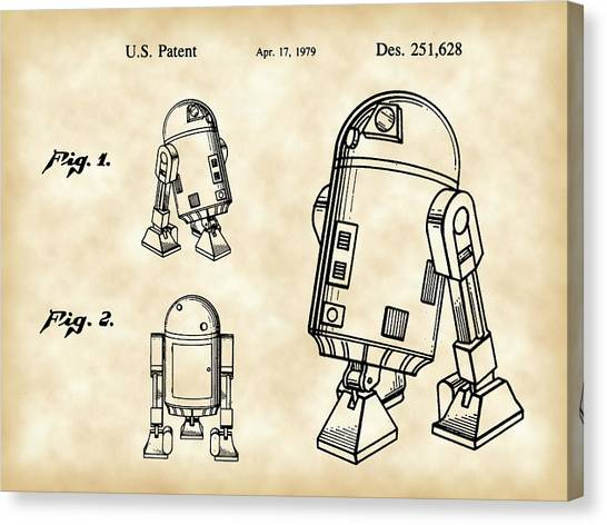 C-3po Canvas Print - Star Wars R2-d2 Patent 1979 - Vintage by Stephen Younts