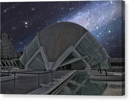 Starfall On Planetary Canvas Print