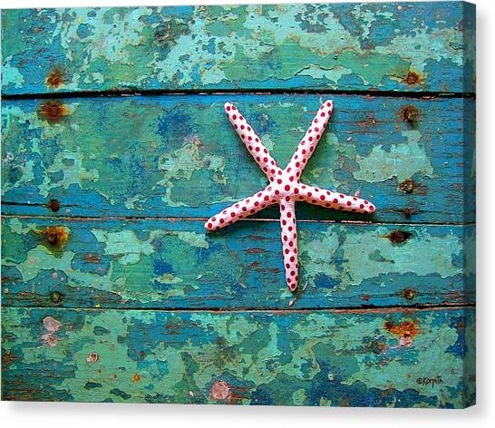 Seashore Peeling Paint - Starfish And Turquoise Canvas Print