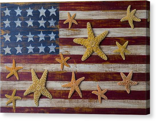 Gay Flag Canvas Print - Starfish On American Flag by Garry Gay