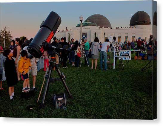 Stargazers At Dusk - Griffith Observatory Los Angeles California Canvas Print