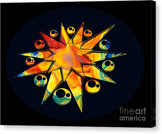 Canvas Print featuring the painting Staring Into Eternity Abstract Stars And Circles by Omaste Witkowski