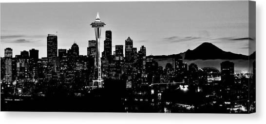 Seattle Skyline Canvas Print - Stark Seattle Skyline by Benjamin Yeager