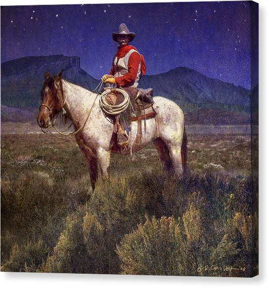 Starlight Cowboy Durango Canvas Print by R christopher Vest