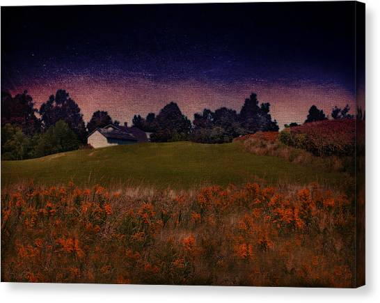 Starry Indigo Blue Twilight In The Country  Canvas Print