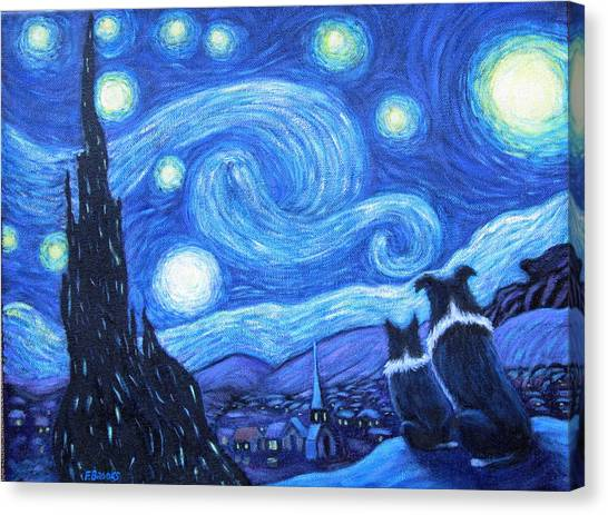 Border Collies Canvas Print - Starry Night Border Collies by Fran Brooks