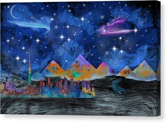 Dubai Skyline Canvas Print - Starry Night In Dubai by Becca Buecher