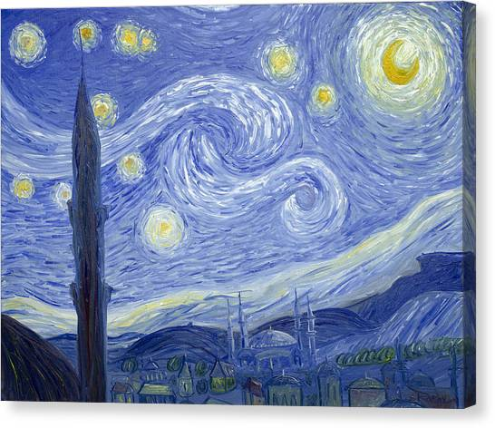 Starry Night In Istanbul Canvas Print