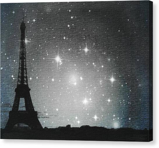 Impressionistic Canvas Print - Starry Night In Paris - Eiffel Tower Photography  by Marianna Mills