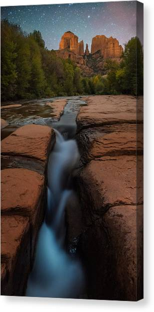 Cathedral Rock Canvas Print - Starry Night Sluice Box Photography At Red Rock Crossing by Mike Berenson