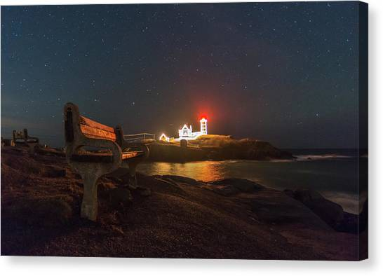 Starry Skies Over Nubble Lighthouse  Canvas Print