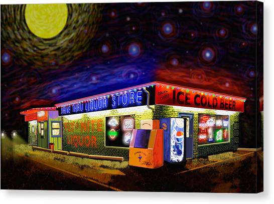 Starry Starry Fly By Nite Drive Thru Liquor Store Canvas Print