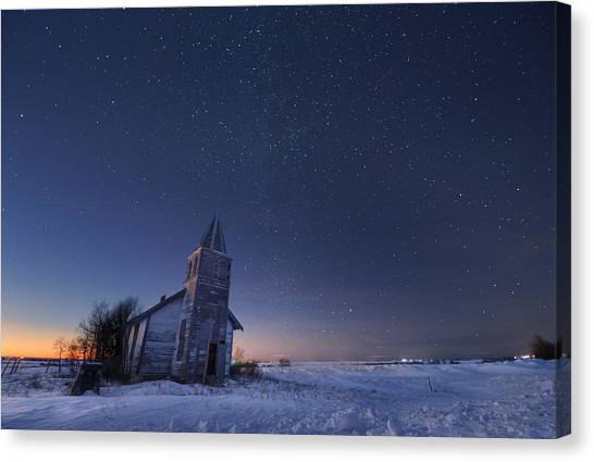 Starry Winter Night Canvas Print