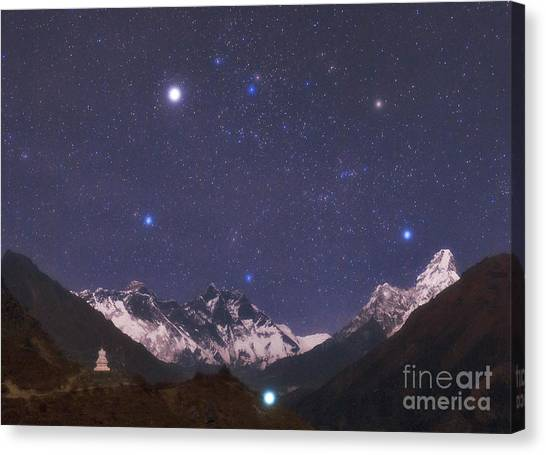 Mount Everest Canvas Print - Stars And Himalayas by Babak Tafreshi