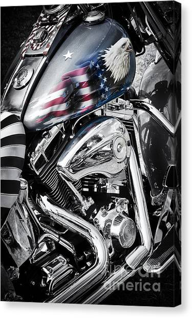 Stars And Stripes Harley  Canvas Print