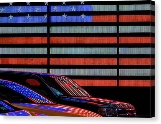 Stars And Stripes Canvas Print - Stars And Stripes Reflected by Linda Wride