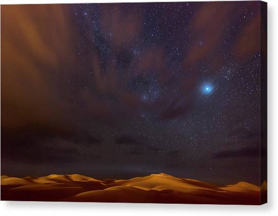 Dunes Canvas Print - Stars, Dunes And Clouds In Marzuga Desert by Tristan Shu