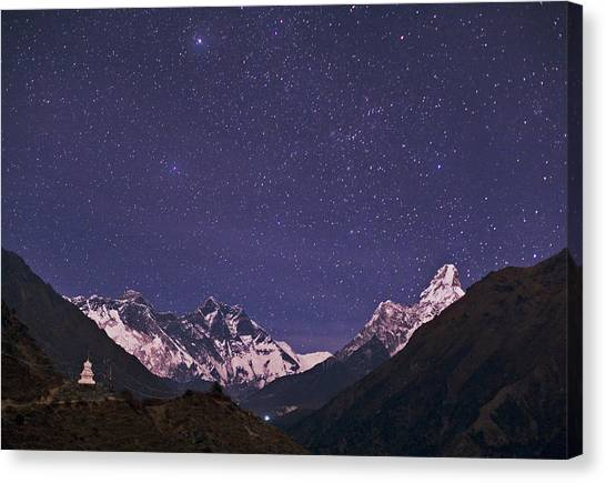 Mount Everest Canvas Print - Stars Over The Himalayas by Babak Tafreshi/science Photo Library