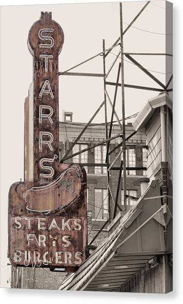 Hamburger Canvas Print - Stars Steaks Frys And Burgers by JC Findley