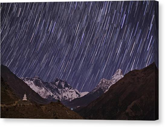 Mount Everest Canvas Print - Startrails Above Mount Everest by Babak Tafreshi/science Photo Library