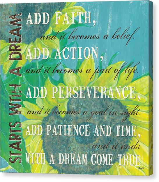 Motivational Canvas Print - Starts With A Dream by Debbie DeWitt