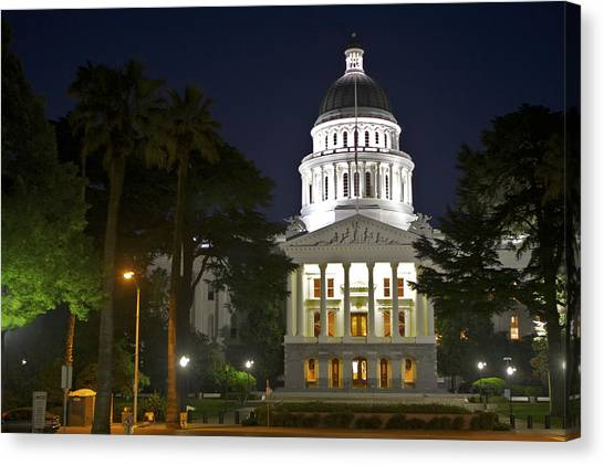 Sacramento State Canvas Print - State Capitol At Night Sacramento by SC Heffner