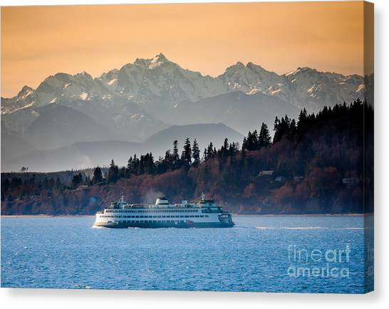 Mountains Canvas Print - State Ferry And The Olympics by Inge Johnsson