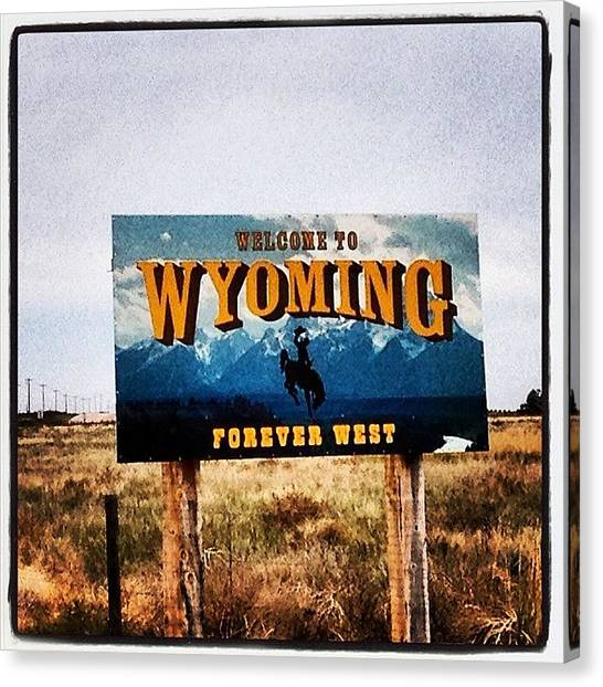 Tetons Canvas Print - State Line by M Hunter