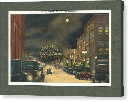 State Street Bristol Va Tn At Night Canvas Print
