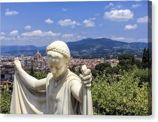 Statue At San Miniato Al Monte Canvas Print by Rick Starbuck
