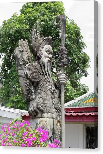 Statue At Wat Phra Kaew Canvas Print