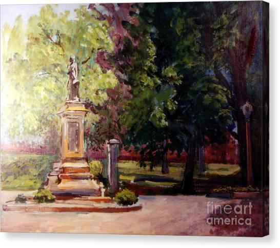 Statue In  Landscape Canvas Print