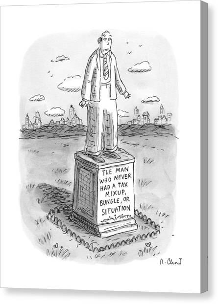Taxes Canvas Print - Statue Of A Man by Roz Chast