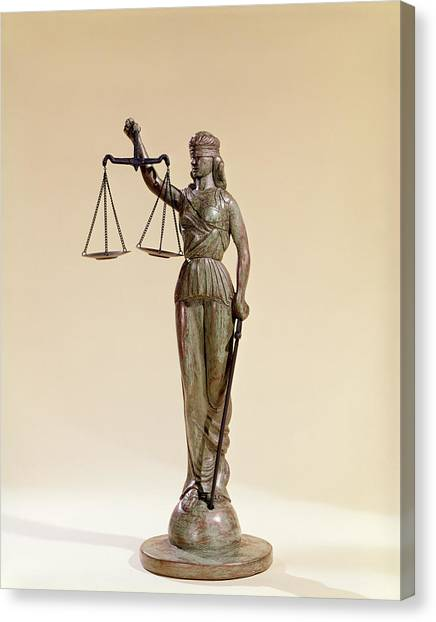 Impartial Canvas Print - Statue Of Blind Justice Holding Scales by Vintage Images