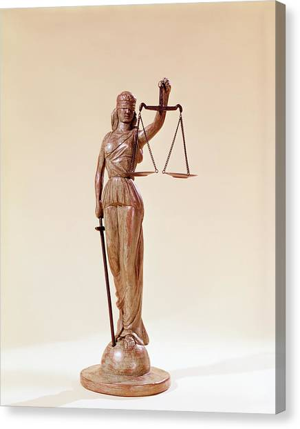 Impartial Canvas Print - Statue Of Blindfolded Lady Justice by Vintage Images