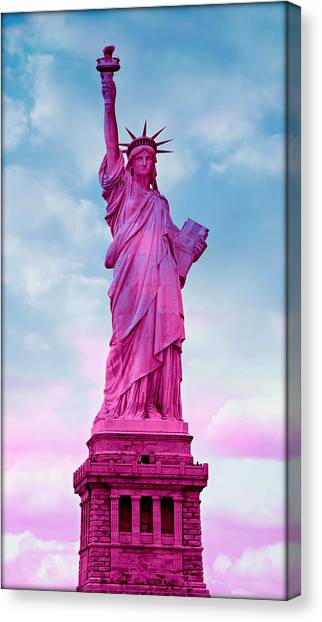 Breast Cancer Canvas Print - Statue Of Liberty - Pink by Stephen Stookey