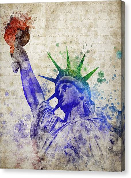 New York Skyline Canvas Print - Statue Of Liberty by Aged Pixel