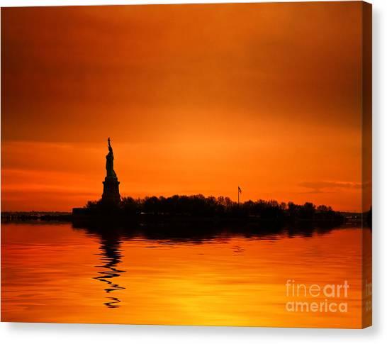 Breathe Canvas Print - Statue Of Liberty At Sunset by John Farnan