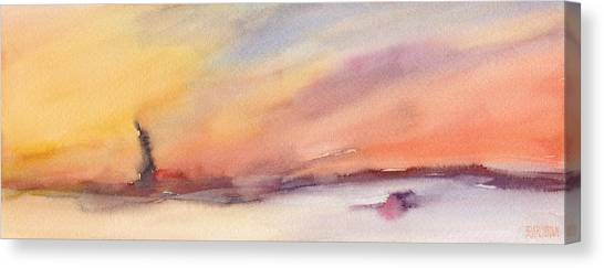 Statue Of Liberty Canvas Print - Statue Of Liberty At Sunset Watercolor Painting Of New York by Beverly Brown Prints