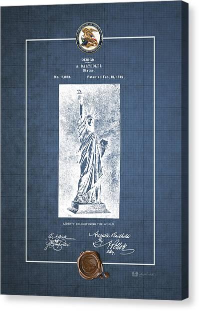 Liberte Canvas Print - Statue Of Liberty By A. Bartholdi - Vintage Patent Blueprint by Serge Averbukh