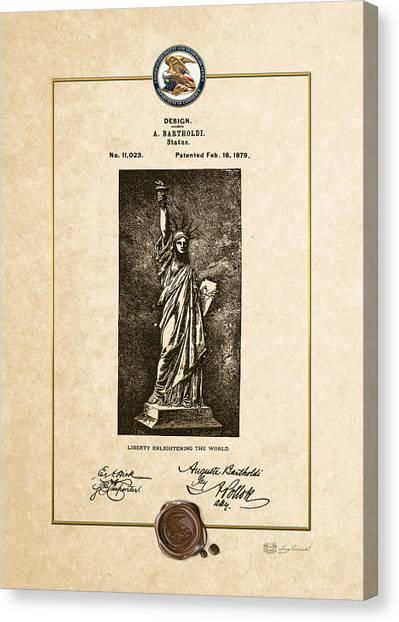 Liberte Canvas Print - Statue Of Liberty By A. Bartholdi - Vintage Patent Document by Serge Averbukh