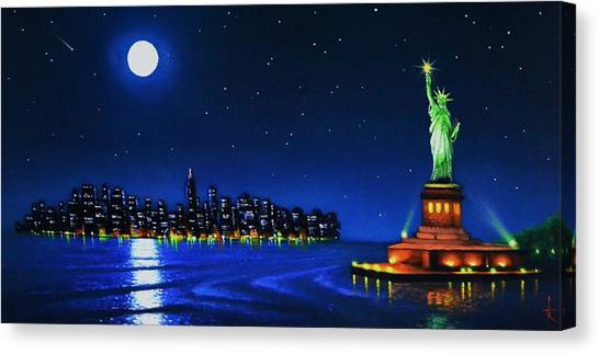 Statue Of Liberty In The Ny Horbor Canvas Print