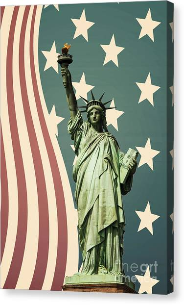 Statue Canvas Print - Statue Of Liberty by Juli Scalzi
